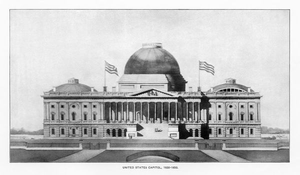 Antique American Illustration: Early Drawing of The White House, Washington, D