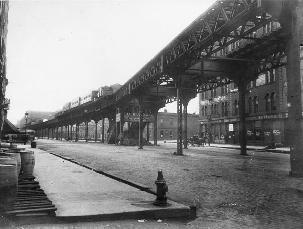 Elevated Railway. A steam elevated railway on Market Street near Lake Street in Chicago
