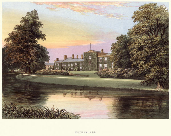 Vintage engraving of Netherhall House, Cumbria. A Series of Picturesque Views of Seats of the Noblemen and Gentlemen of Great Britain and Ireland