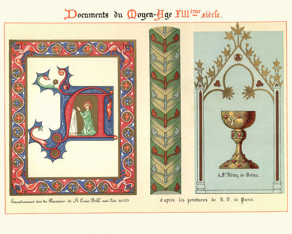 Vintage engraving of Examples of Medieval decorative art from illuminated manuscripts 13th Century
