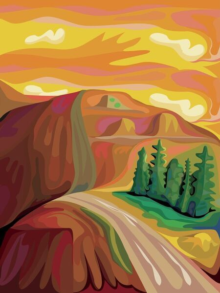 Expressionist Mountain Landscape in Vertical Format. Orange and brown colors in a quietly swirling rural scene with a road climbing two hills and a strand of trees to one side of the road