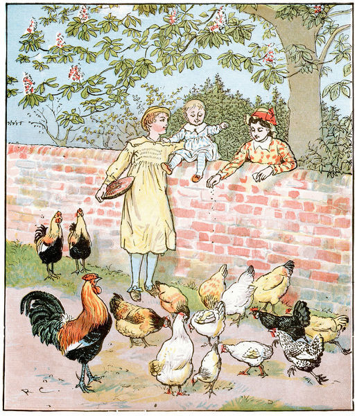 Vintage engraving from nursery rhyme and English folk song The Farmer's Boy. When I was a farmer, a Farmer's Boy, I used to keep my master's hens