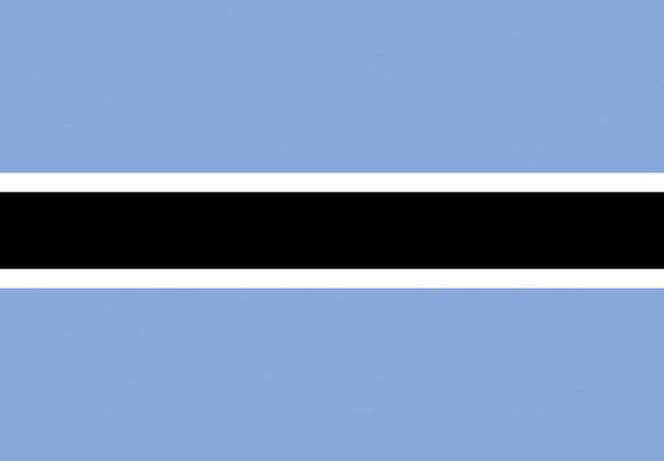 The Botswana flag colours are the same as the country's coat of arms. Blue represents water and the black and white symbolises racial harmony with the influence of the national animal, the zebra