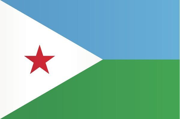 The flag of Djibouti features two equal horizontal bands of blue (top) and green, with a white isosceles triangle based on the hoist side. The triangle bears a red star in its centre, which represents unity and blood