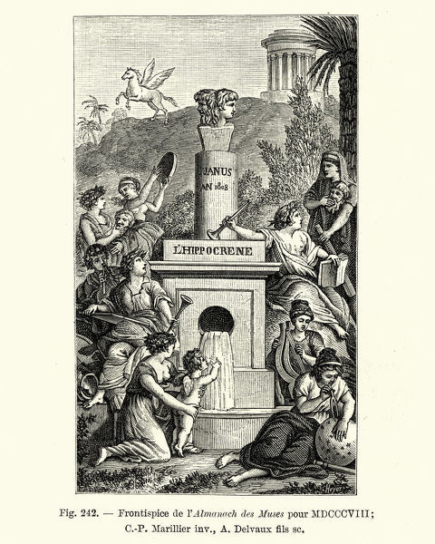 Vintage engraving Frontispiece from L'Almanach des muse (The Almanach of the Muse), 1808. Showing a statue of Janus, roman god of beginnings, gates, transitions, time, duality