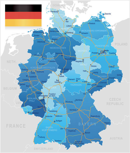 Germany - road map - Highly detailed map of Germany with roads ...