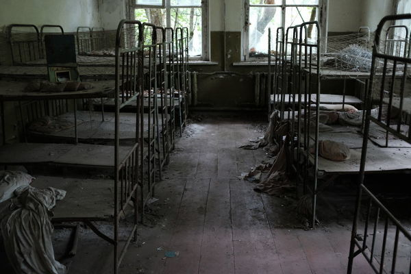 Beds. Ghost town of Pripyat, near the Chernobyl nuclear reactor