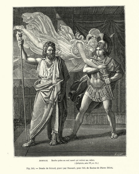 Vintage engraving of Achille, Rendez grace au seul noeud qui retient ma colere (Achilles, Give thanks to the single knot that holds my anger)