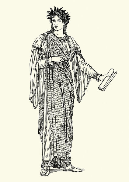 Vintage engraving of Clio. In Greek mythology, Clio, also spelled Kleio, is the muse of history. Like all the muses, she is a daughter of Zeus and the Titaness Mnemosyne
