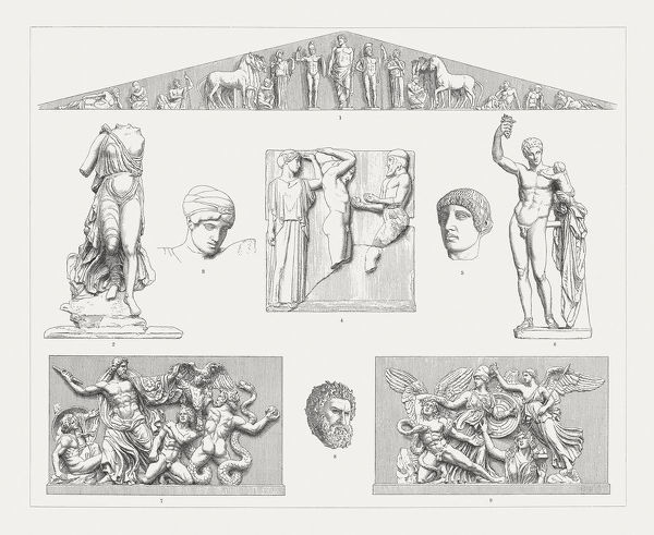 Greek sculpture art from Olympia and Pergamon, Greece: 1) East Pediment of the Temple of Zeus at Olympia, c