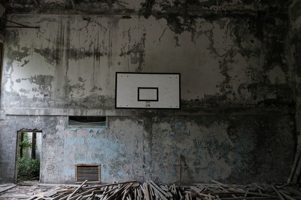 Gymnasium. Ghost town of Pripyat, near the Chernobyl nuclear reactor