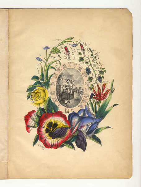 Extremely Rare, Beautifully Illustrated Antique Engraved Botanical Illustration of the Handcolored Title Page of Volume 4 from The American Flora, History of Plants and Wild Flowers: Their Scientific and General Descriptions, Natural History