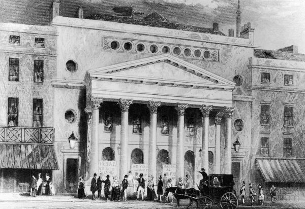 circa 1830: Exterior of the Theatre Royal in London with advertisement boards for 'As You Like It' in the porch and a four wheeler carriage in the foreground. Original Artwork: Drawn by H West (Photo by Hulton Archive/Getty Images)