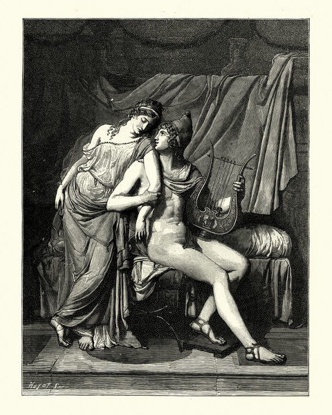 Vintage engraving of Helen of Troy and Paris after Jean Duplessis-Bertaux