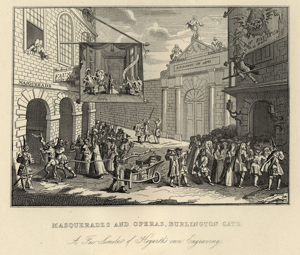 Vintage engraving of William Hogarth's Masquerades and Operas (The Bad Taste of the Town), Burlington Gate