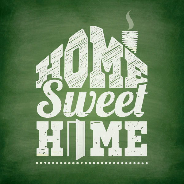 home sweet home chalkboard background hand drawn lettering of an
