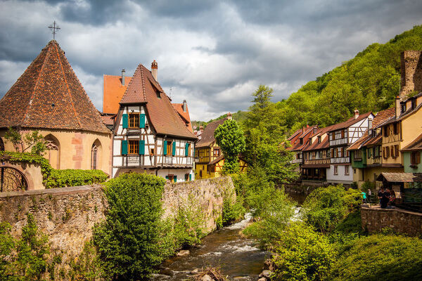 Panoramic view of small medieval village of Kaysersberg in Alsace, France