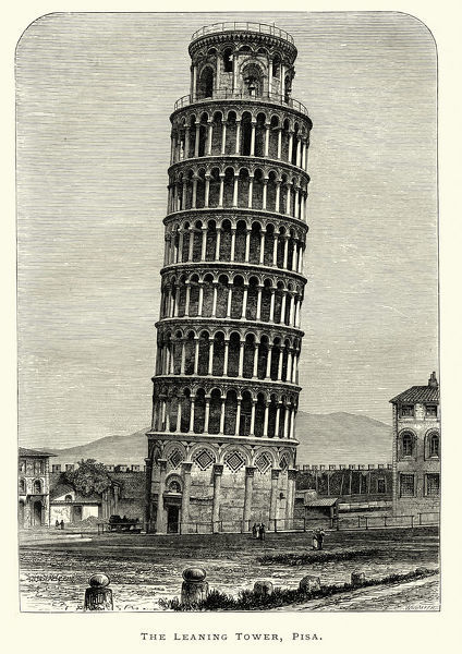 Vintage engraving of the Leaning Tower of Pisa. The Leaning Tower of Pisa or simply the Tower of Pisa is the campanile, or freestanding bell tower, of the cathedral of the Italian city of Pisa, known worldwide for its unintended tilt. The Leisure Hour