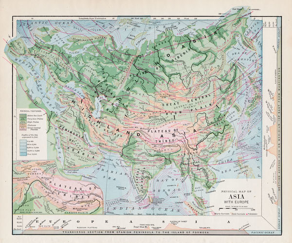 Map Of Asia To Print.Map Of Asia 1877 Warrens Common School Geography 1877 Photo