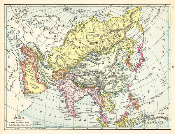 Geography Map Of Asia.Prints Of Map Of Asia 1895 The Rand Mcnally Grammar School