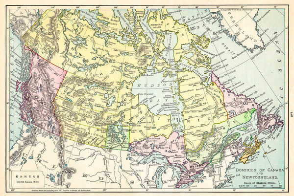 Map of Canada 1895 - The Rand-McNally Grammar School Geography 1895 ...