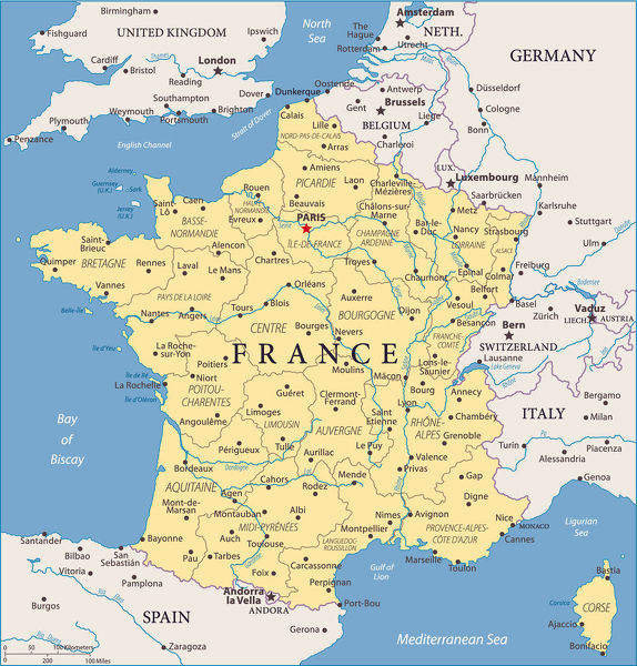 Map of France - Vector illustration
