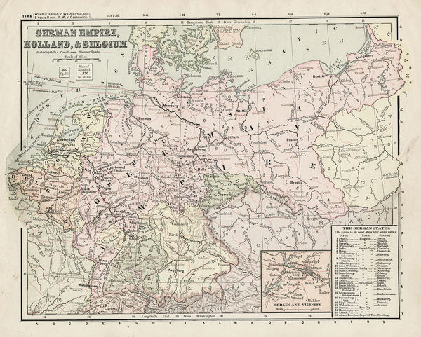 Map German Empire, Holland and Belgium 1881