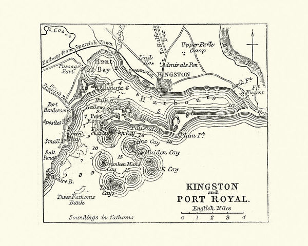 Map Of Kingston And Port Royal Jamaica Th Century Vintage - Vintage map of jamaica