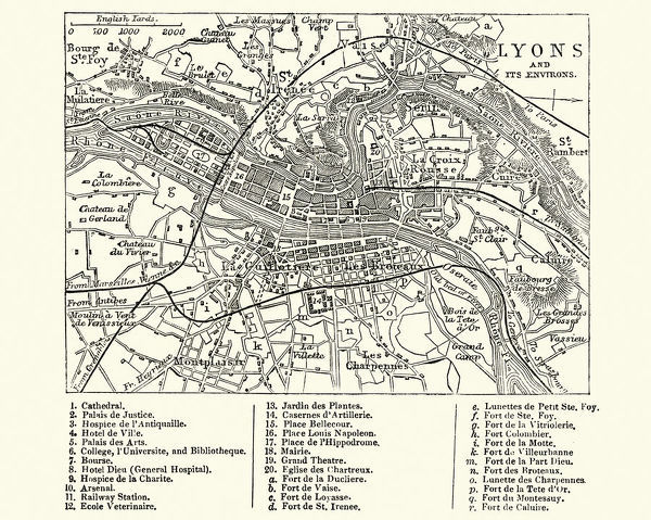 Map Of Lyons France 19th Century Vintage Engraving Of A Map Of