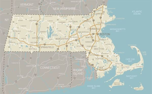 image about Printable Map of Massachusetts known as A1 (84x59cm) Poster of Map of Machusetts with highways
