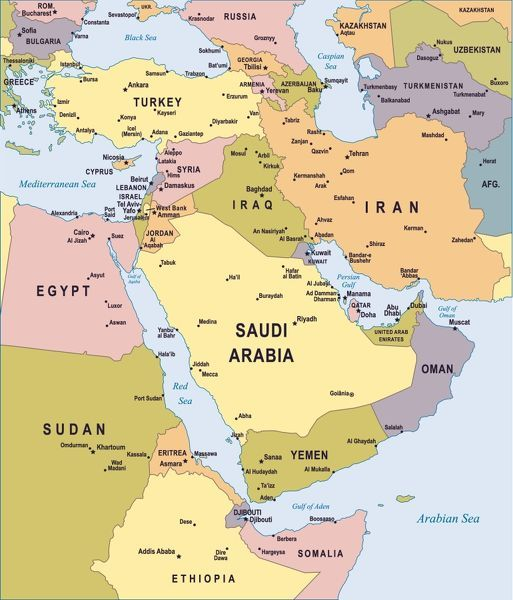 Map of Middle East illustration Colored Map of Middle East