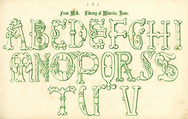 Vintage engraving of the alphabet in a medieval italian style from the Book of Ornamental Alphabets by F.G. Delamotte published in 1879 now in the public domain