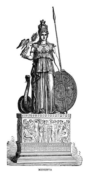 Minerva, goddess of wisdom - Scanned 1882 Engraving