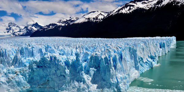 The Perite Moreno Glacier (60 meters high) has three primary faces. This shows the northern face