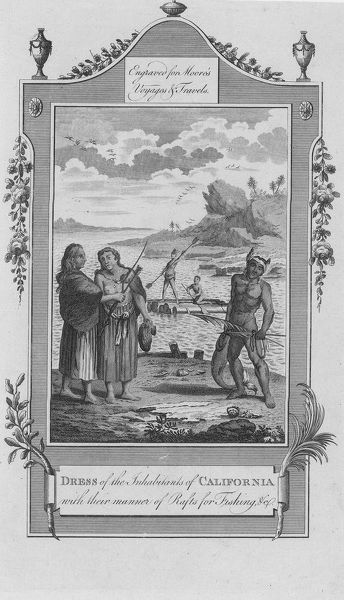 Illustration of the native inhabitants of California fishing from 'A New and Complete Collection of Voyages and Travels' by John Hamilton Moore in 1778. (Photo by Hulton Archive/Getty Images)