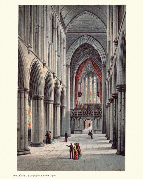 Vintage colour engraving of the nave Glasgow Cathedral, Scotland, 19th Century. Glasgow Cathedral, also called the High Kirk of Glasgow or St Kentigern's or St Mungo's Cathedral, is today a gathering of the Church of Scotland in Glasgow
