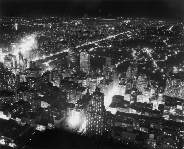 An aerial view of New York at night, circa 1955. (Photo by Hulton Archive/Getty Images)