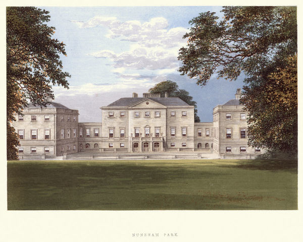 Vintage engraving of Nuneham House is an eighteenth century villa in the Palladian style, set in parkland at Nuneham Courtenay in Oxfordshire, England. A Series of Picturesque Views of Seats of the Noblemen and Gentlemen of Great Britain and Ireland