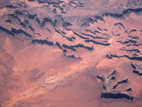 The Oljato monument valley, between Arizona and Utah, as seen from aircraft