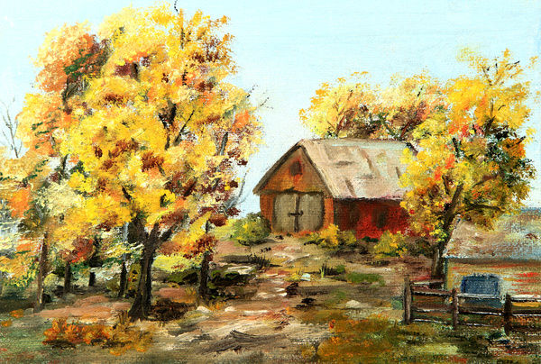 original art painting of red barn and trees in autumn acrylic or