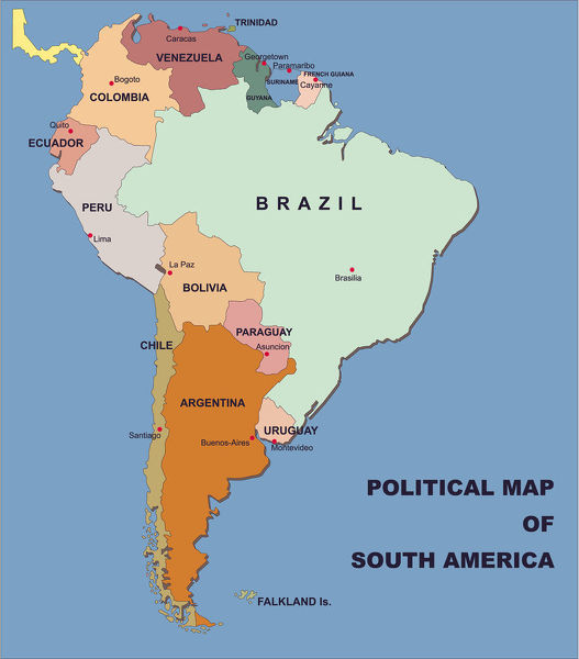Map Of South America And Their Capitals – Jerusalem House