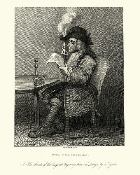 Vintage engraving of The politician by William Hogarth. Satire with a man reading a newspaper oblivious of the candle that he holds burning a hole in his hat. 1775