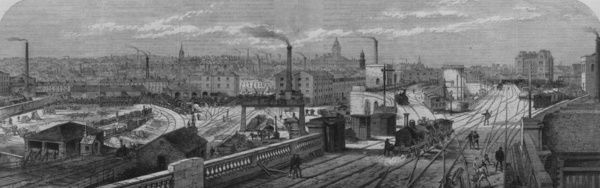 Railway Junction. 3rd May 1868: Holbeck railway junction at Leeds
