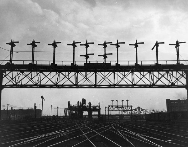 Railway tracks and semaphore signals at Boston, Massachusetts in the United States of America