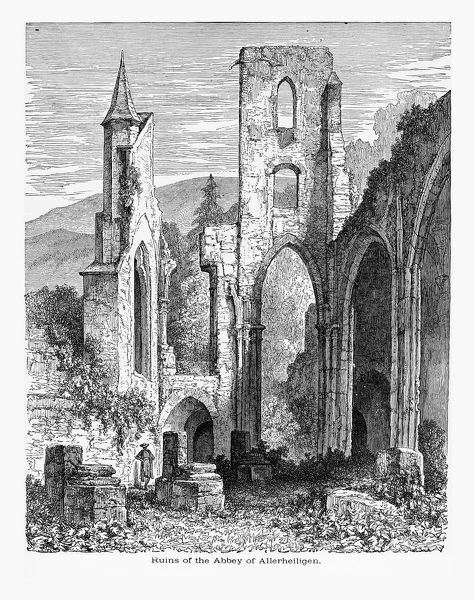 Beautifully Illustrated Antique Engraved Victorian Illustration of Ruins of the Abbey of Allerheiligen in Allerheiligen, Germany Circa 1887. Source: Original edition from my own archives. Copyright has expired on this artwork. Digitally restored
