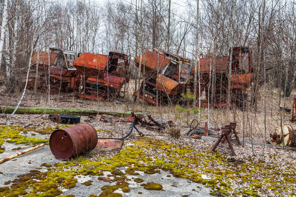 Machine and tractor stations in the village Kopachi, Chernobyl zone