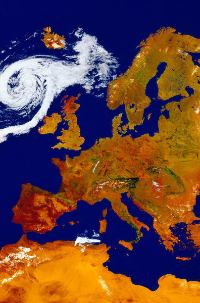 SATELLITE MAP OF EUROPE WITH HURRICANE