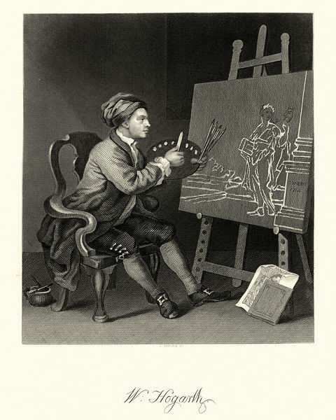 Vintage engraving of a Self Portrait of the Artist by William Hogarth. William Hogarth was an English painter, printmaker, pictorial satirist, social critic, and editorial cartoonist