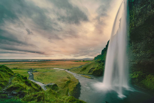 Famous waterfall Seljalandsfoss in Southern Iceland