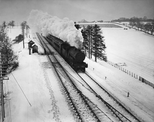 Steam Train In Snow. A London and North Eastern Railway